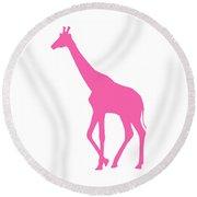 Giraffe In Pink Round Beach Towel