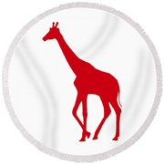 Giraffe In Red And White Round Beach Towel
