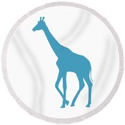 Giraffe In White And Turquoise Round Beach Towel