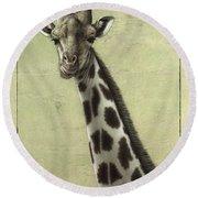Giraffe Round Beach Towel by James W Johnson