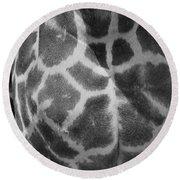 Giraffe Pattern Black And White Round Beach Towel
