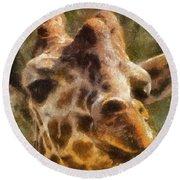 Giraffe Photo Art 01 Round Beach Towel