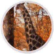 Giraffe Photo Art 03 Round Beach Towel