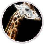 Giraffe Portrait Fractal Round Beach Towel