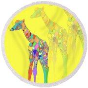 Giraffe X 3 - Yellow Round Beach Towel