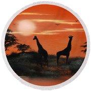 Serengeti Sunset Sold Round Beach Towel