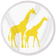 Giraffes In Golden And White Round Beach Towel