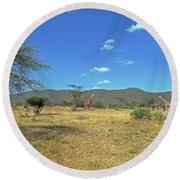Giraffes In Samburu National Reserve Round Beach Towel