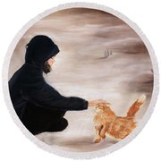 Girl And A Cat Round Beach Towel
