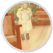 Girl And Rocking Chair Round Beach Towel