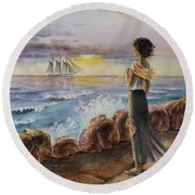 Girl And The Ocean Sailing Ship Round Beach Towel
