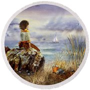 Girl And The Ocean Sitting On The Rock Round Beach Towel