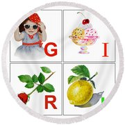Girl Art Alphabet For Kids Room Round Beach Towel