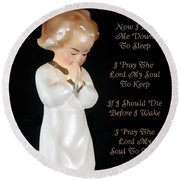 Girl Childs Bedtime Prayer Round Beach Towel