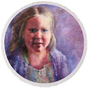 Girl In A Purple Sweater Round Beach Towel
