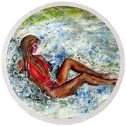 Girl In A Red Swimsuit Round Beach Towel