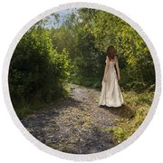 Girl In Country Lane Round Beach Towel