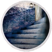 Girl In Nightgown On Circular Stone Steps Round Beach Towel