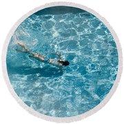 Girl In Pool Round Beach Towel