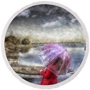 Girl In Red Coat Round Beach Towel