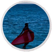 Girl In Red Float Round Beach Towel