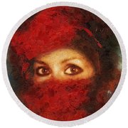Girl In Red Turban Round Beach Towel