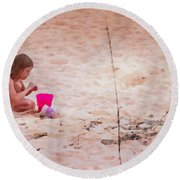 Girl In The Sand Round Beach Towel