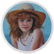 Girl In The Straw Hat Round Beach Towel