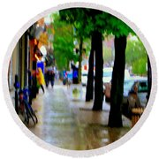 Girl In The Yellow Raincoat Rainy Stroll Through Streets Of The City Montreal Scenes Carole  Round Beach Towel