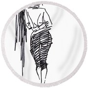 Girl Leaning Against Wall Round Beach Towel