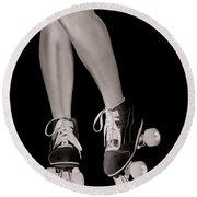 Girl Legs In Roller Skates Artistic Concept Round Beach Towel