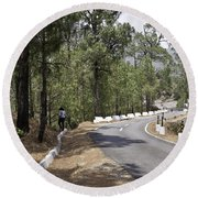 Girl On A Mountain Highway Road Round Beach Towel