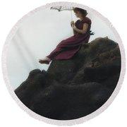 Girl On A Rock Round Beach Towel