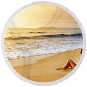 Girl On Seashore  Round Beach Towel