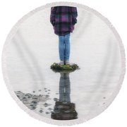 Girl On Stone Round Beach Towel