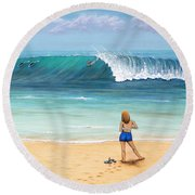 Girl On Surfer Beach Round Beach Towel