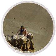 Girl On The Rocks - Compton Bay Round Beach Towel