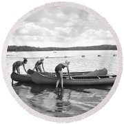 Girl Scout Canoe Test Round Beach Towel