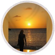 Girl Silhouetted On A Beach At Sunset Round Beach Towel