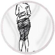 Girl Sketch Round Beach Towel