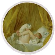 Girl With A Dog Round Beach Towel by Jean Honore Fragonard