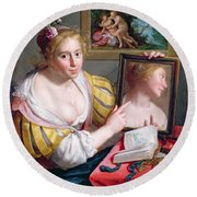 Girl With A Mirror, An Allegory Round Beach Towel