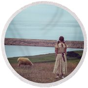 Girl With A Sheep Round Beach Towel by Joana Kruse
