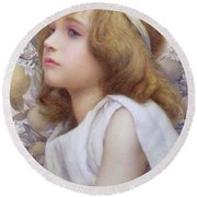 Girl With Apple Blossom Round Beach Towel by Henry Ryland