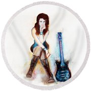 Girl With Blue Guitar Round Beach Towel