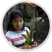 Girl With Flower Round Beach Towel
