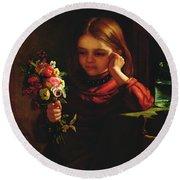 Girl With Flowers Round Beach Towel by John Davidson