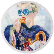 Girl With Glasses Eating Pretzel - Oil Portrait Round Beach Towel
