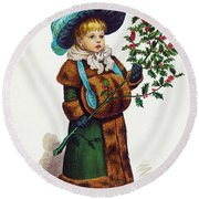 Girl With Holly Round Beach Towel