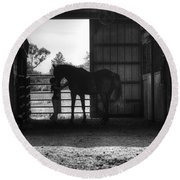 Girl With Horse Round Beach Towel